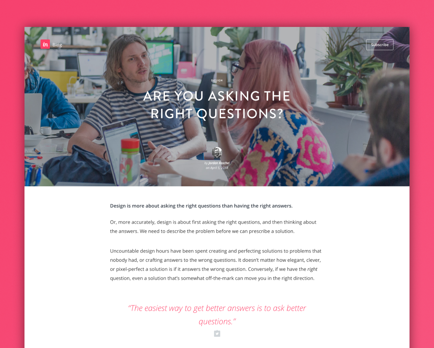 InVision Blog Post — Are You Asking the Right Questions?