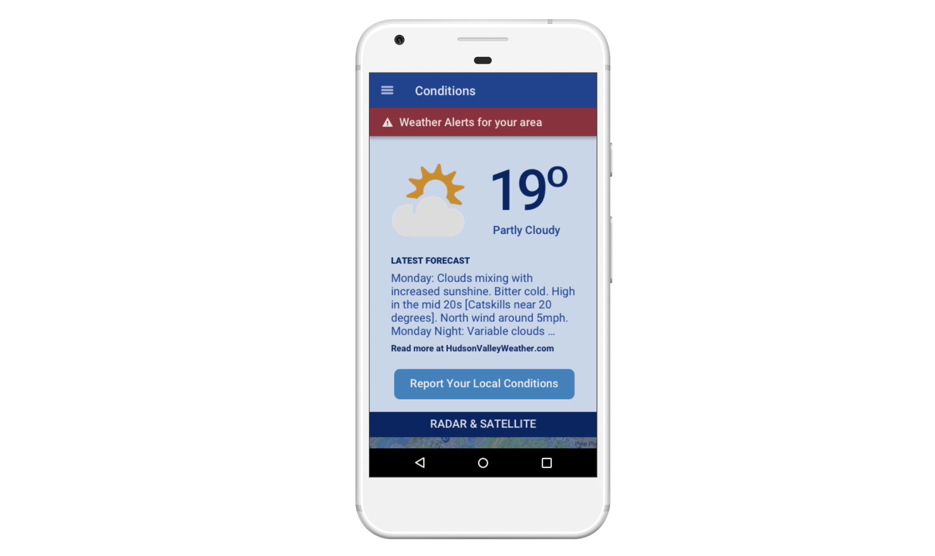 Hudson Valley Weather Mobile App Design
