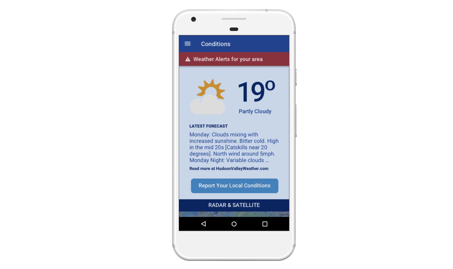Hudson Valley Weather Mobile App Design
