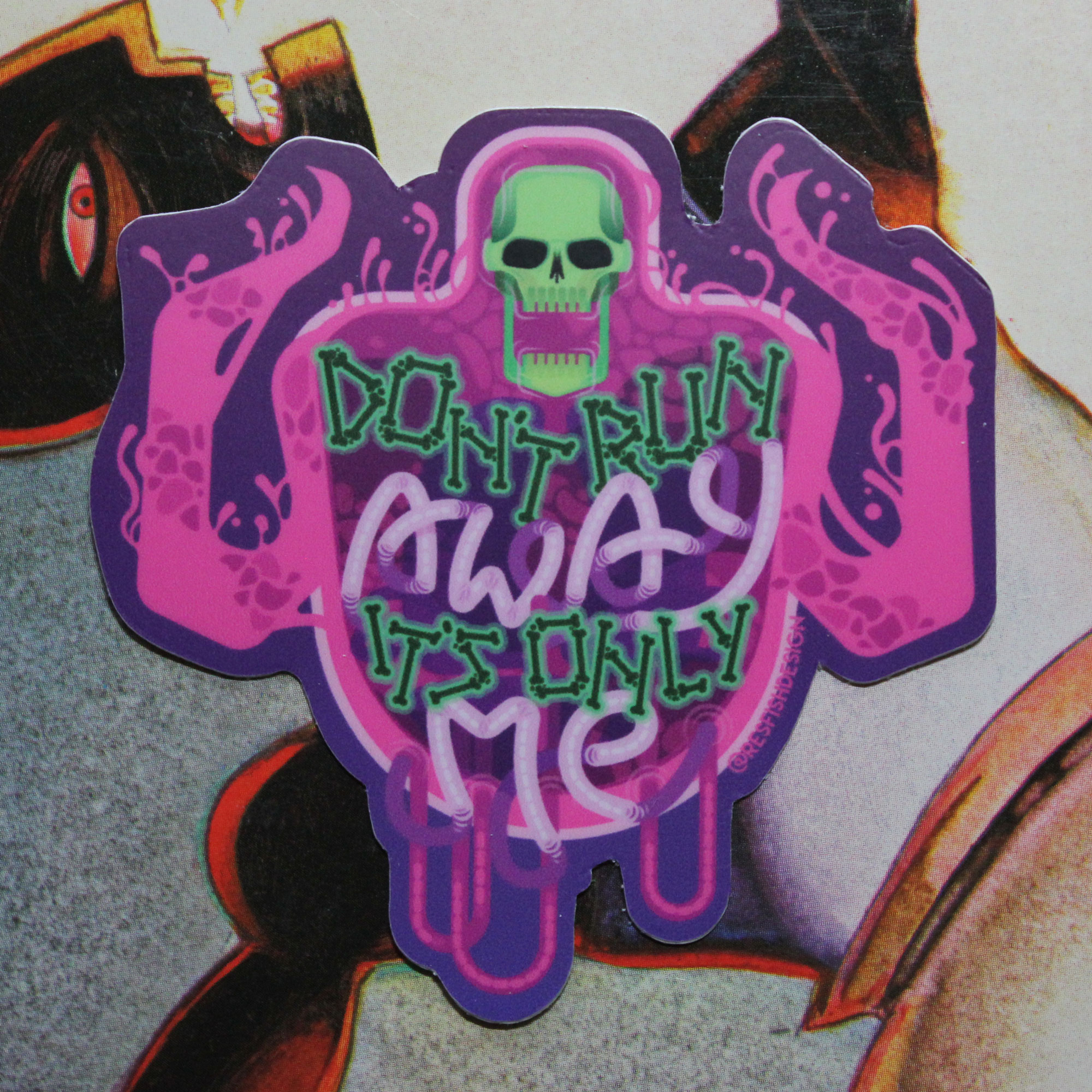 Don't Run Away sticker design