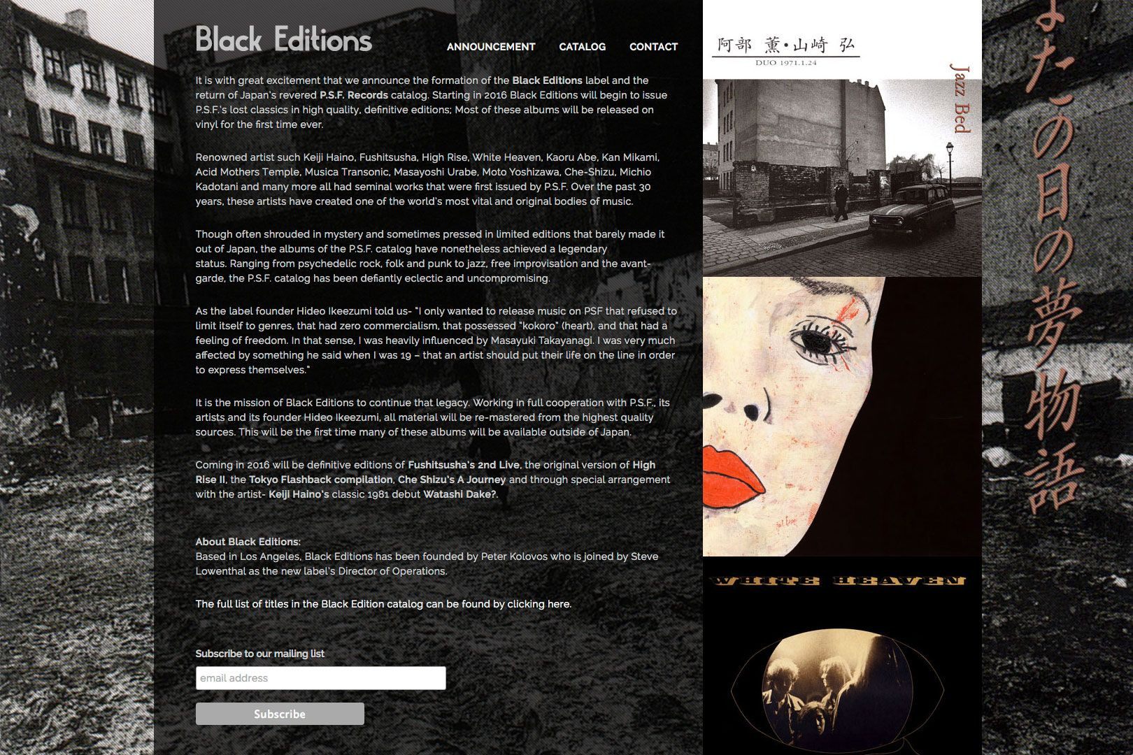 The Black Editions website updates